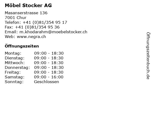 ᐅ öffnungszeiten Möbel Stocker Ag Masanserstrasse 136 In Chur