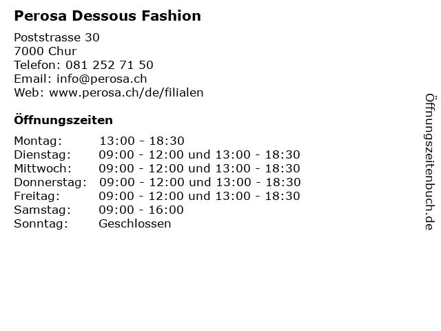 Perosa Dessous Fashion in Chur: Adresse und Öffnungszeiten