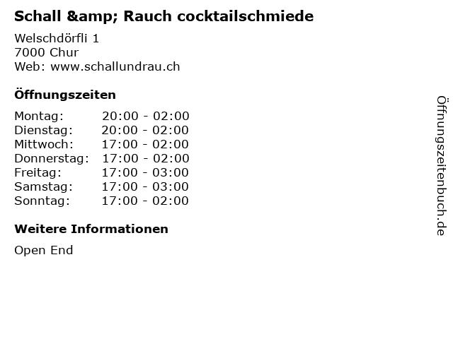 Schall & Rauch cocktailschmiede in Chur: Adresse und Öffnungszeiten