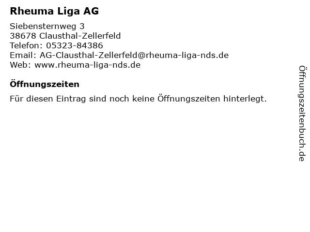 Rheuma Liga AG in Clausthal-Zellerfeld: Adresse und Öffnungszeiten