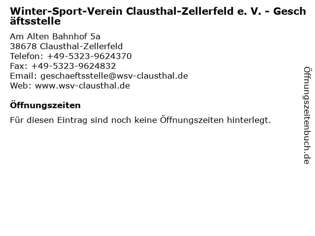 Winter-Sport-Verein Clausthal-Zellerfeld e. V. - Geschäftsstelle in Clausthal-Zellerfeld: Adresse und Öffnungszeiten