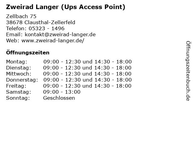 Zweirad Langer (Ups Access Point) in Clausthal-Zellerfeld: Adresse und Öffnungszeiten