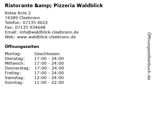 Ristorante & Pizzeria Waldblick in Cleebronn: Adresse und Öffnungszeiten