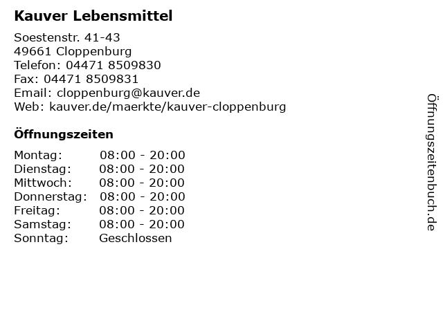 Kauver Lebensmittel in Cloppenburg: Adresse und Öffnungszeiten