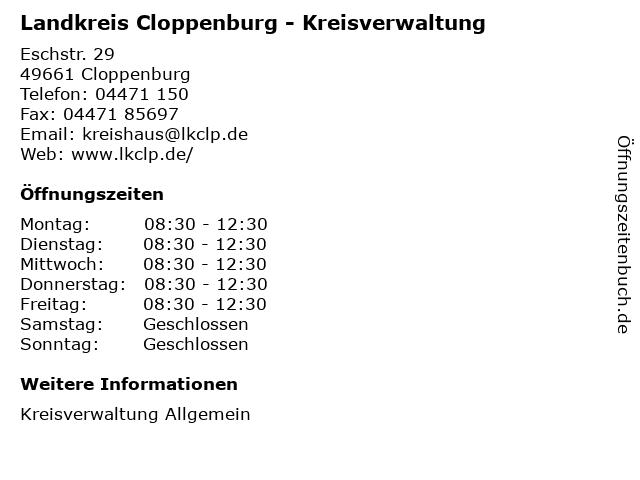 ᐅ Offnungszeiten Landkreis Cloppenburg Kreisverwaltung