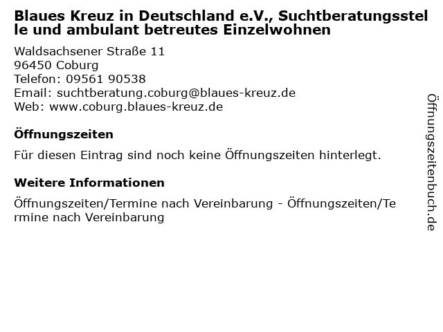 Blaues Kreuz in Deutschland e.V., Suchtberatungsstelle und ambulant betreutes Einzelwohnen in Coburg: Adresse und Öffnungszeiten