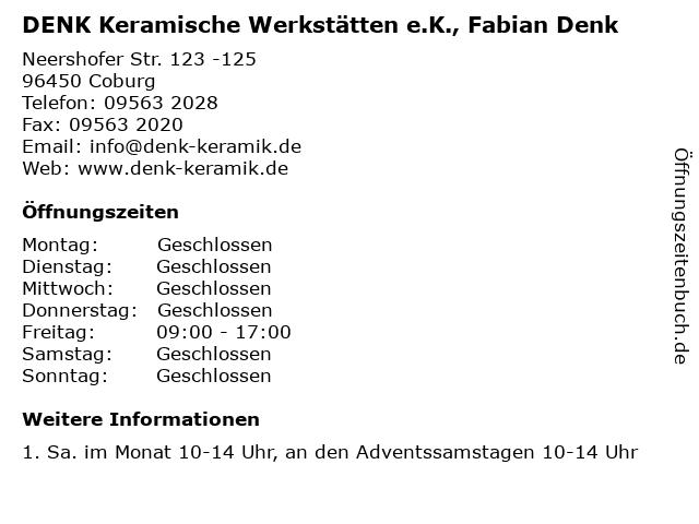 """ᐅ Öffnungszeiten """"DENK Keramische Werkstätten e.K., Fabian Denk ..."""