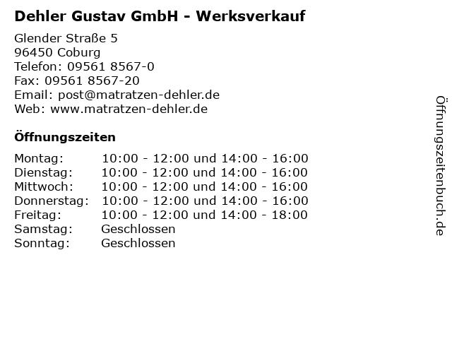 Dehler Gustav GmbH - Werksverkauf in Coburg: Adresse und Öffnungszeiten