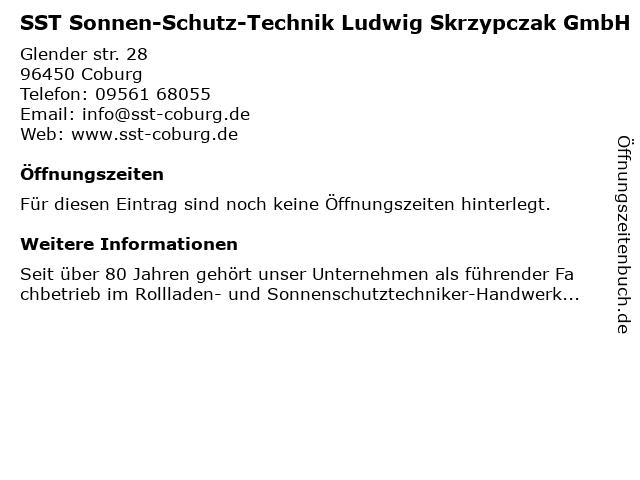 SST Sonnen-Schutz-Technik Ludwig Skrzypczak GmbH in Coburg: Adresse und Öffnungszeiten