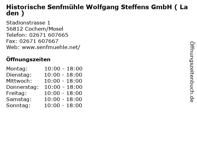 Historische Senfmühle Wolfgang Steffens GmbH ( Laden ) in Cochem/Mosel: Adresse und Öffnungszeiten