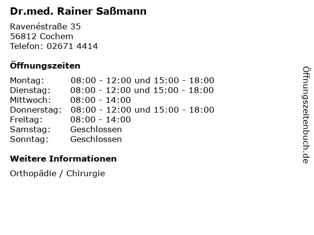 Dr.med. Rainer Saßmann in Cochem: Adresse und Öffnungszeiten