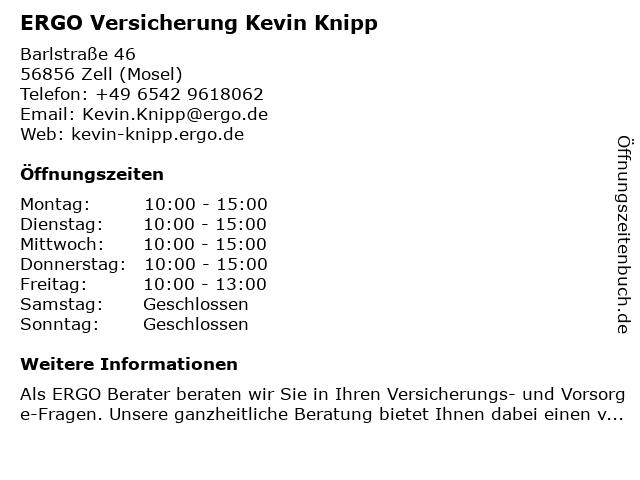 ERGO Versicherung Kevin Knipp in Cochem: Adresse und Öffnungszeiten