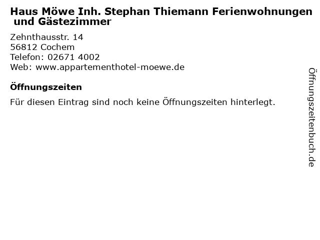Haus Möwe Inh. Stephan Thiemann Ferienwohnungen und Gästezimmer in Cochem: Adresse und Öffnungszeiten