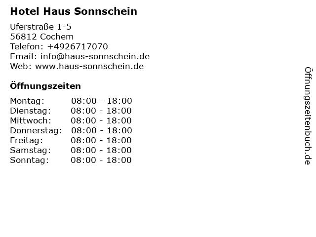 Hotel Haus Sonnschein in Cochem: Adresse und Öffnungszeiten