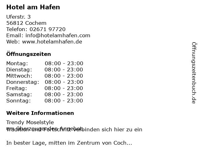 Hotel am Hafen in Cochem: Adresse und Öffnungszeiten