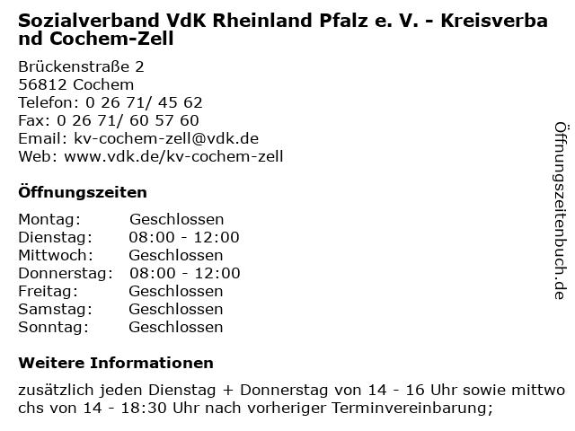 Sozialverband VdK Rheinland Pfalz e. V. - Kreisverband Cochem-Zell in Cochem: Adresse und Öffnungszeiten