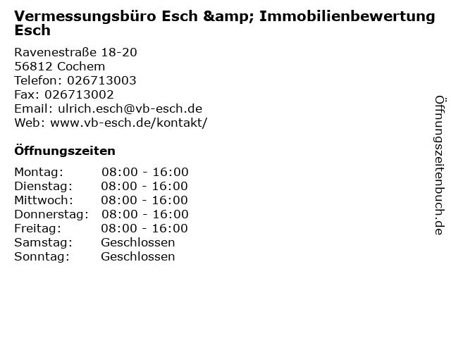Vermessungsbüro Esch & Immobilienbewertung Esch in Cochem: Adresse und Öffnungszeiten