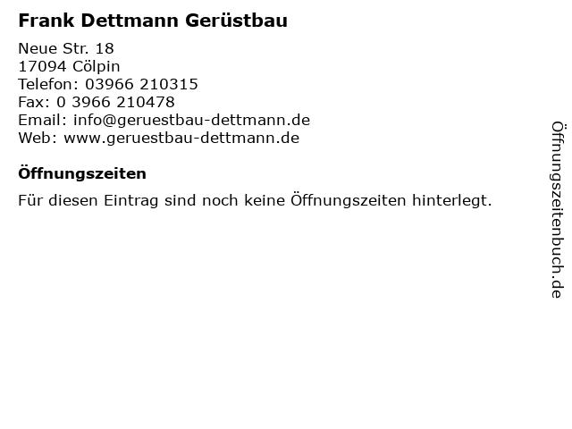 Frank Dettmann Gerüstbau in Cölpin: Adresse und Öffnungszeiten