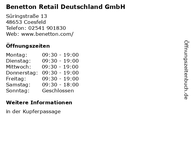 Benetton Retail Deutschland GmbH in Coesfeld: Adresse und Öffnungszeiten
