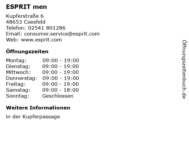 ESPRIT men in Coesfeld: Adresse und Öffnungszeiten