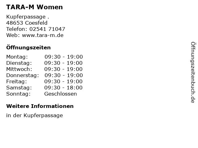 TARA-M Women in Coesfeld: Adresse und Öffnungszeiten