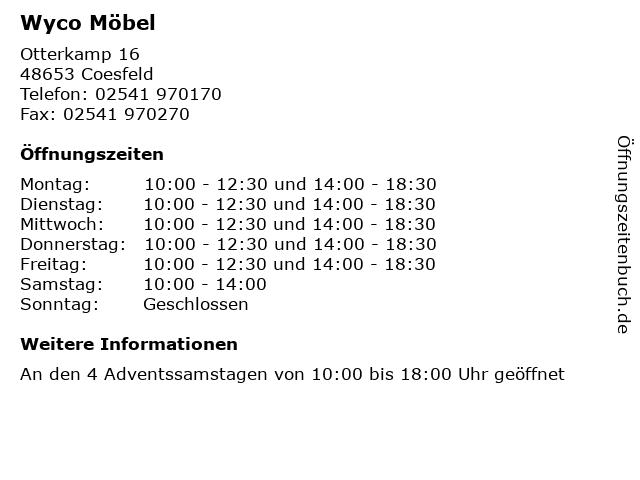 ᐅ öffnungszeiten Wyco Möbel Otterkamp 16 In Coesfeld