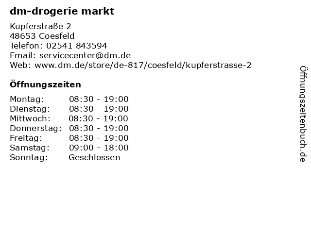 dm-drogerie markt in Coesfeld: Adresse und Öffnungszeiten