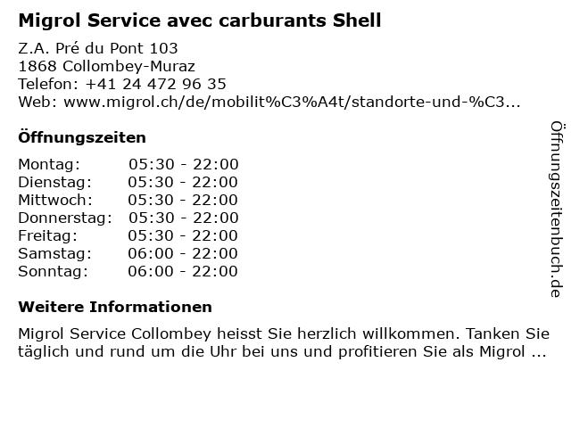 Migrol Service in Collombey-Muraz: Adresse und Öffnungszeiten