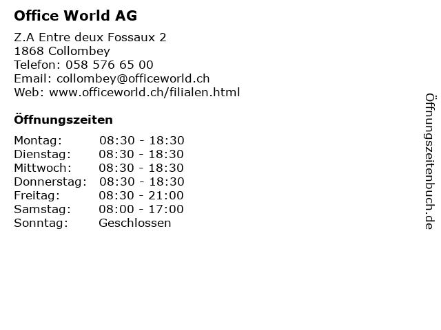 Office World AG in Collombey: Adresse und Öffnungszeiten