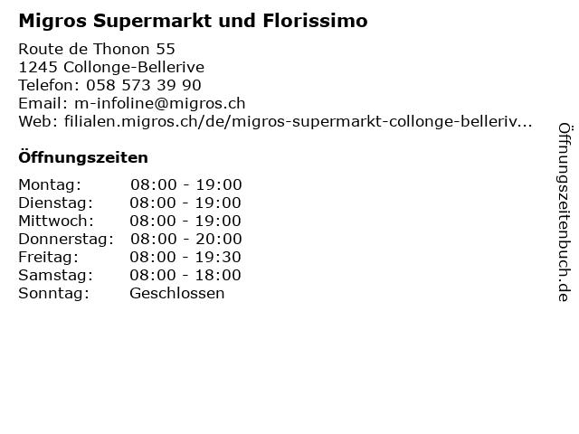 Migros Supermarkt und Florissimo in Collonge-Bellerive: Adresse und Öffnungszeiten