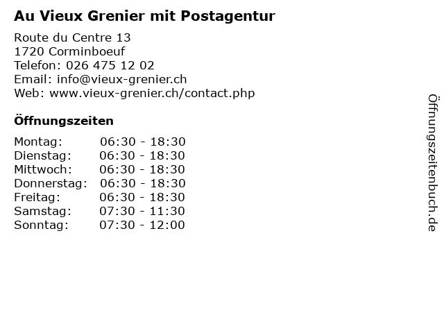 Au Vieux Grenier mit Postagentur in Corminboeuf: Adresse und Öffnungszeiten