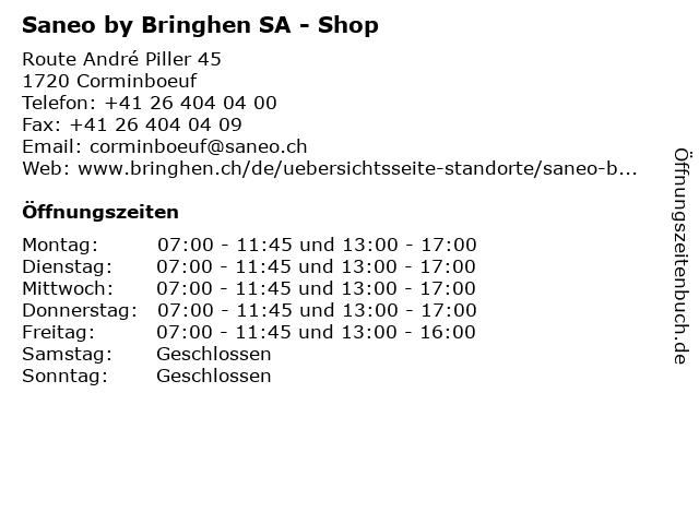 Saneo by Bringhen SA - Shop in Corminboeuf: Adresse und Öffnungszeiten