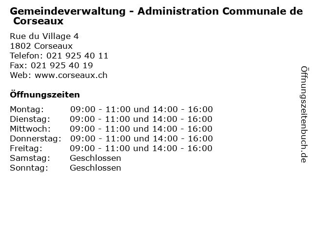 Gemeindeverwaltung - Administration Communale de Corseaux in Corseaux: Adresse und Öffnungszeiten