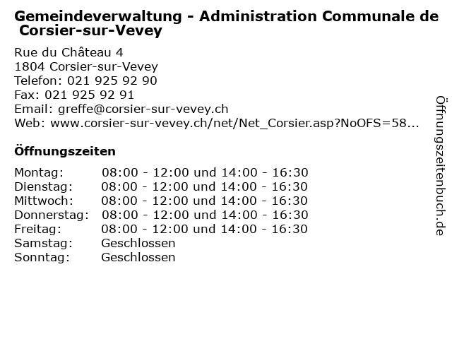 Gemeindeverwaltung - Administration Communale de Corsier-sur-Vevey in Corsier-sur-Vevey: Adresse und Öffnungszeiten