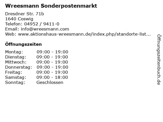 Aktionshaus Wreesmann in Coswig: Adresse und Öffnungszeiten