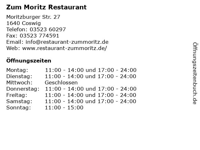 Zum Moritz Gaststätte & Biergarten in Coswig: Adresse und Öffnungszeiten