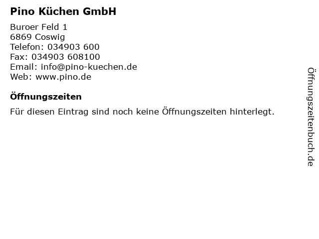 ᐅ Offnungszeiten Pino Kuchen Gmbh Buroer Feld 1 In Coswig