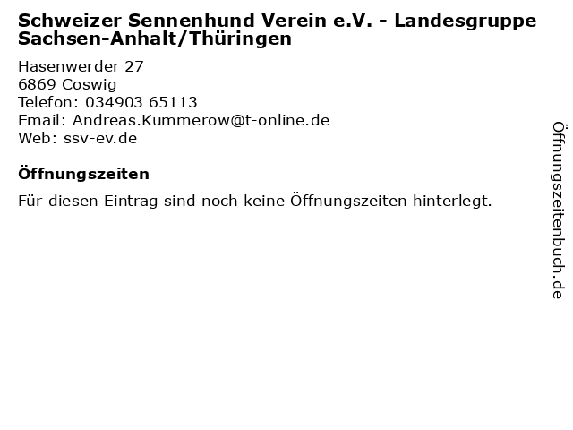 Schweizer Sennenhund Verein e.V. - Landesgruppe Sachsen-Anhalt/Thüringen in Coswig: Adresse und Öffnungszeiten