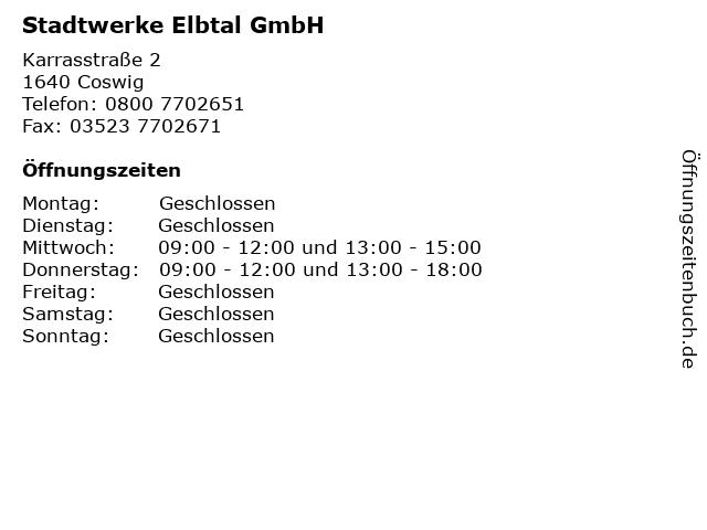 Stadtwerke Elbtal GmbH in Coswig: Adresse und Öffnungszeiten