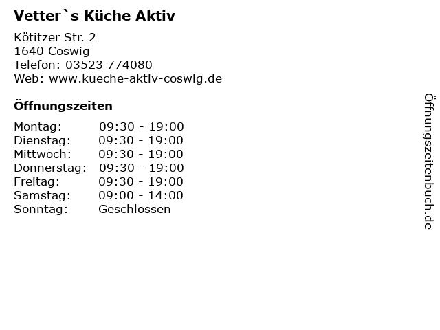 """ᐅ Öffnungszeiten """"Vetter`s Küche Aktiv""""   Kötitzer Str. 2 in Coswig"""
