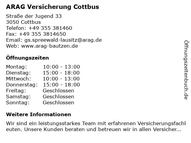 ARAG Versicherung Spreewald-Lausitz in Cottbus: Adresse und Öffnungszeiten