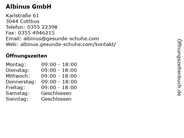 Albinus GmbH in Cottbus: Adresse und Öffnungszeiten