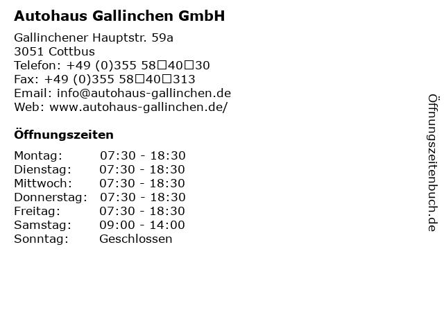 Autohaus Gallinchen GmbH in Cottbus: Adresse und Öffnungszeiten
