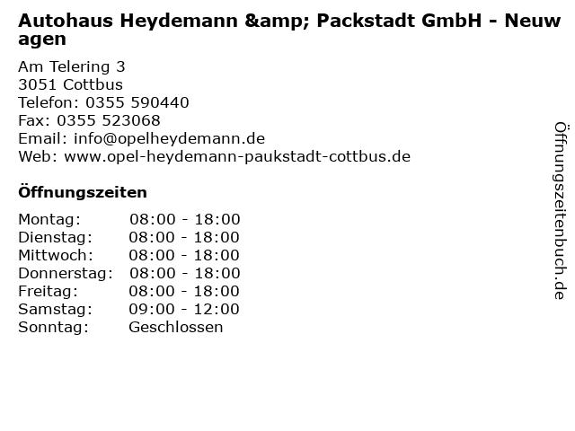 Autohaus Heydemann & Packstadt GmbH - Neuwagen in Cottbus: Adresse und Öffnungszeiten