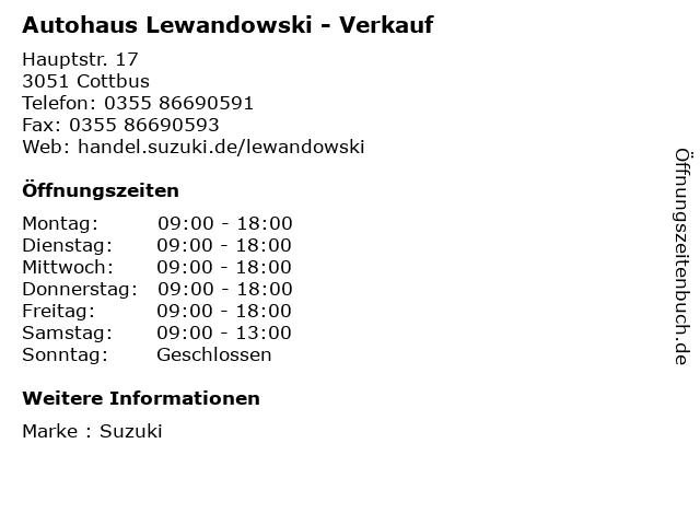 Autohaus Lewandowski - Verkauf in Cottbus: Adresse und Öffnungszeiten