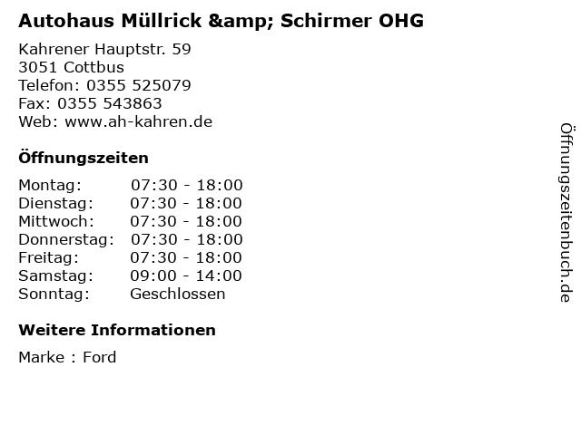 Autohaus Müllrick & Schirmer OHG in Cottbus: Adresse und Öffnungszeiten