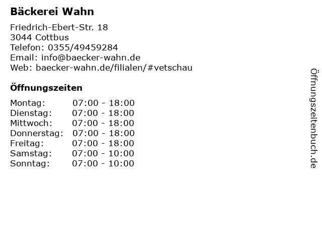 Bäckerei Wahn in Cottbus: Adresse und Öffnungszeiten