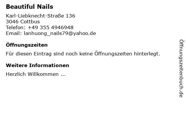 Beautiful Nails in Cottbus: Adresse und Öffnungszeiten