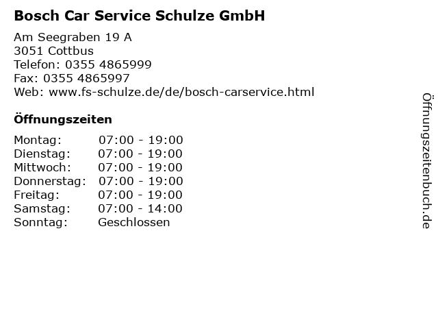 Bosch Car Service Schulze GmbH in Cottbus: Adresse und Öffnungszeiten