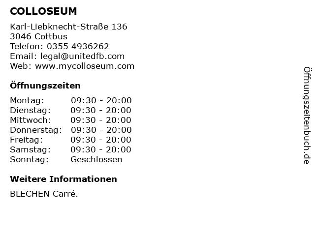 COLLOSEUM in Cottbus: Adresse und Öffnungszeiten